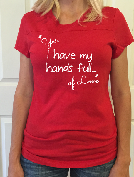 "Red Football Tee - ""Yes, I have my hands full...of love"" - Us+Four"