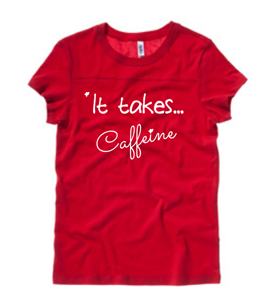 "Red Football Tee - ""It Takes...Caffeine"" - Us+Four"