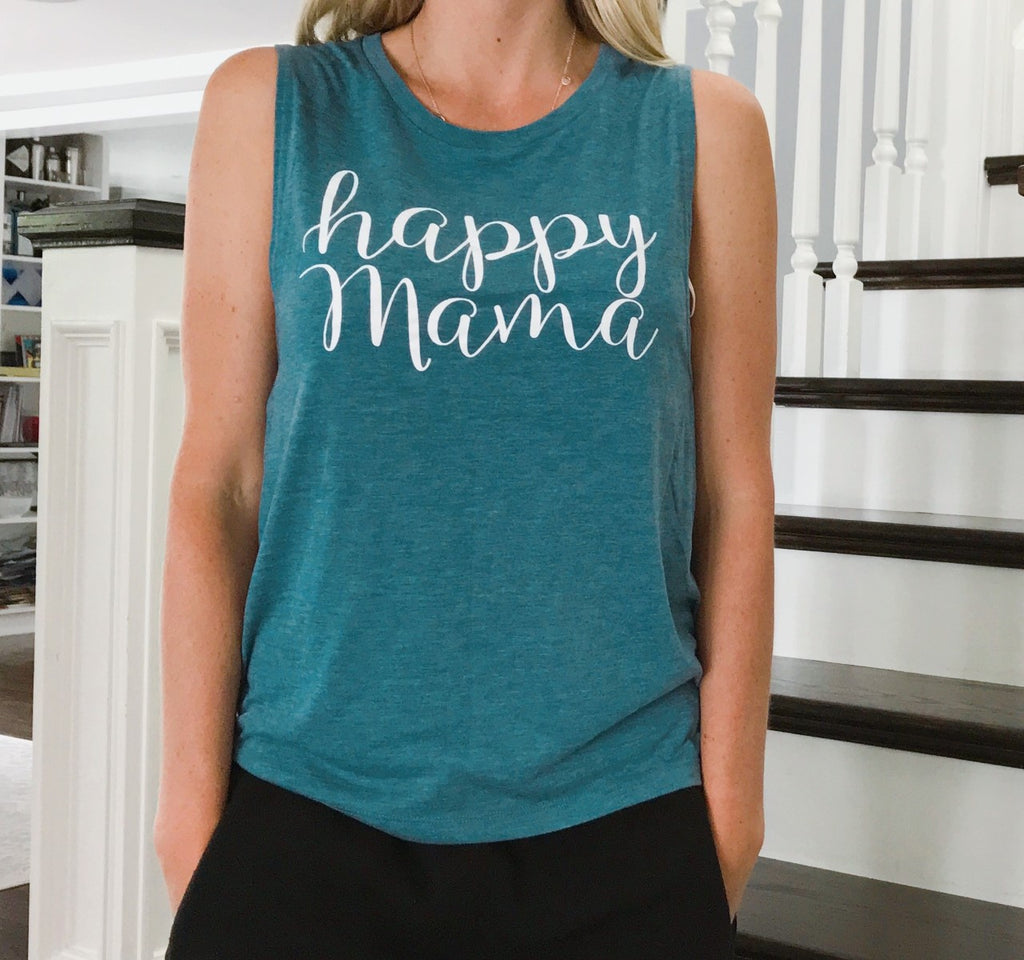 "Heather Teal ""Happy Mama"" Muscle Tank"