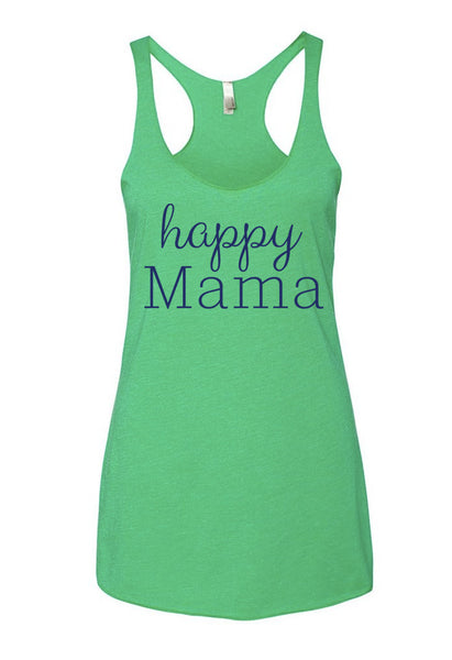 "Green ""Happy Mama"" Racerback Tank Top - Us+Four"