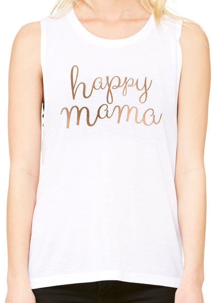 White Muscle Tank - Rose Gold Happy Mama - Us+Four