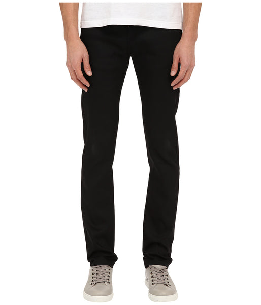 Naked & Famous Men's Skinny Guy Black Power Stretch Jeans front standing view