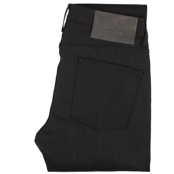 Naked & Famous Men's Skinny Guy Black Power Stretch Jeans back folded view