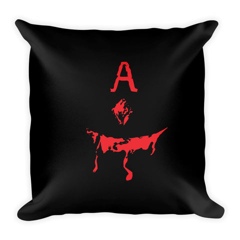 Evil Ace Square Pillow (BLACK)