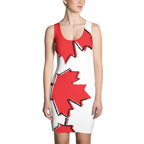 Canada Prime White Leaf Sublimation Cut & Sew Dress