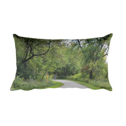 A Biker's Pathway Rectangular Pillow