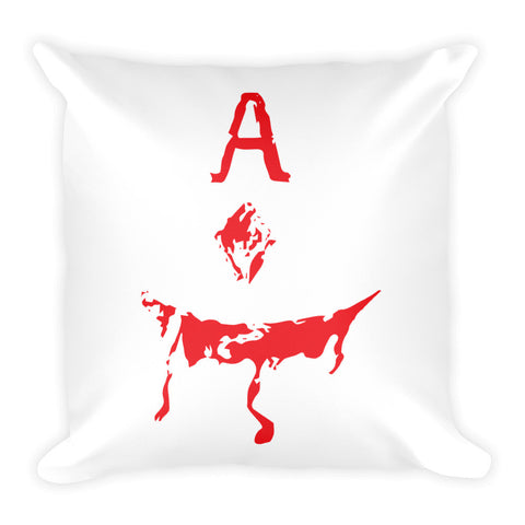 Evil Ace Square Pillow (WHITE)