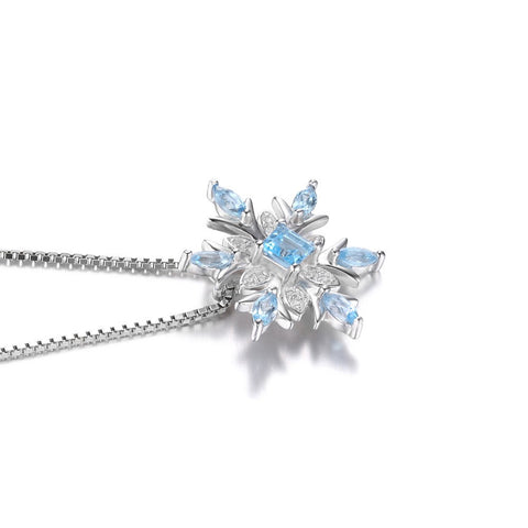 Narcando Canada Snowflake Natural Blue Topaz 925 Silver Necklace