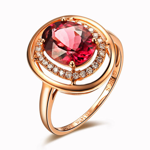 Narcando Bala 18K Rose Gold Natural Red Tourmaline Gemstone Ring