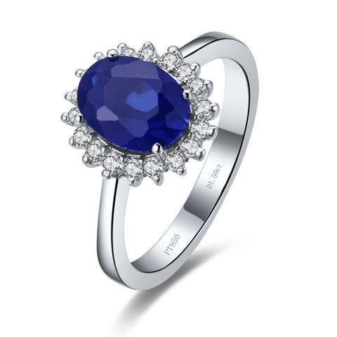 Narcando 14K White Gold Sapphire Eye 1.5 CT Gemstone Ring