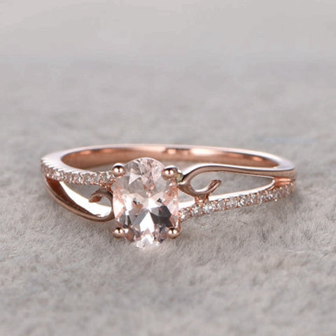 Narcando Pink Bliss 0.14 CT Morganite Gemstone Ring 14K Rose Gold