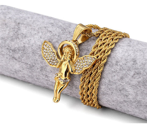 Narcando Canada 24k Gold Baby Angel Gold Chain Necklace