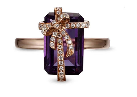 Narcando 14K Rose Gold 5.35ct Gift Me amethyst W/ 0.18ct Diamond