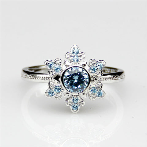 Narcando Sleepy Snowflake Blue Topaz Womens Ring