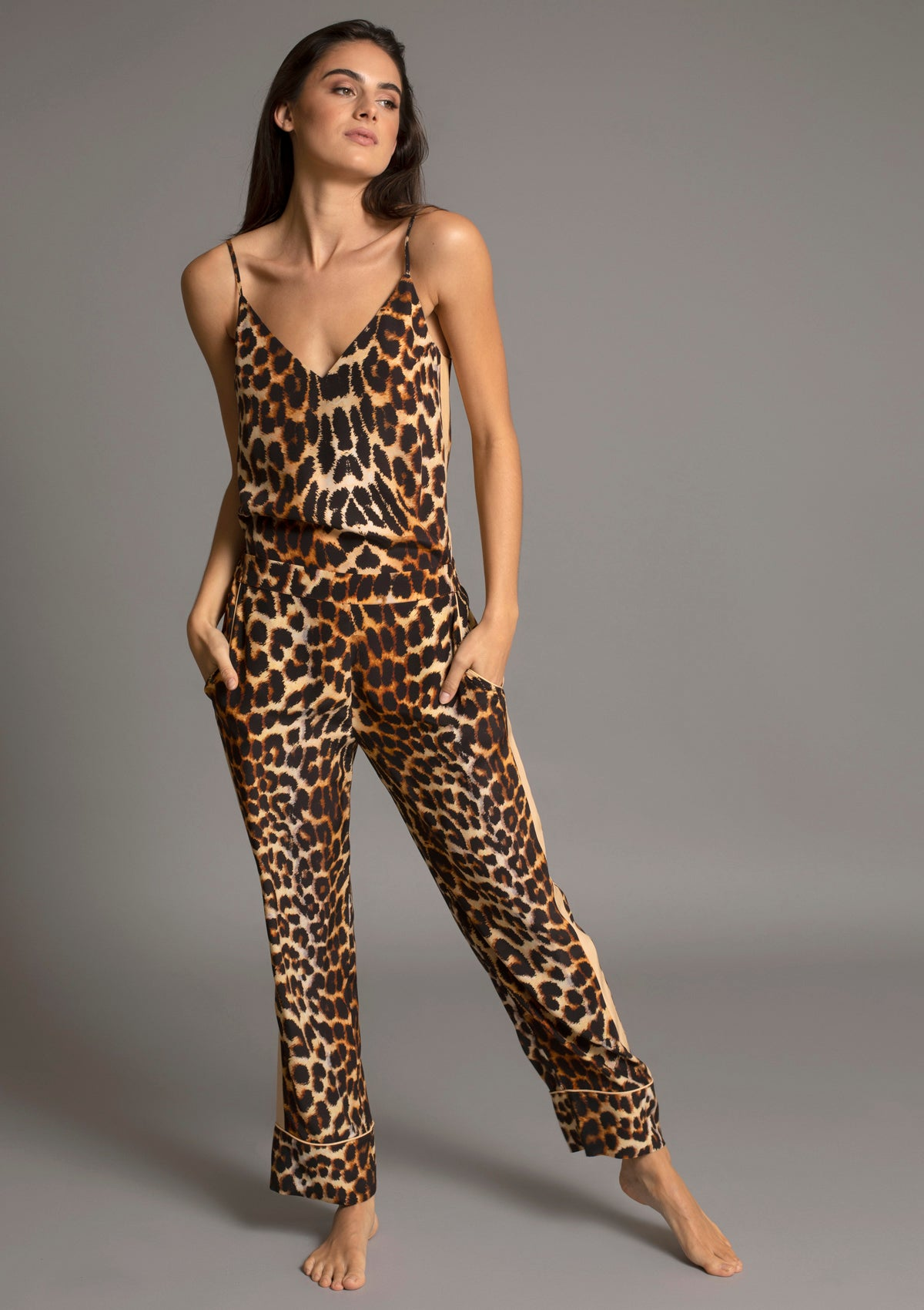 MARILYN V NECK CAMISOLE in LEOPARD w CAMEL TUXEDO STRIPE