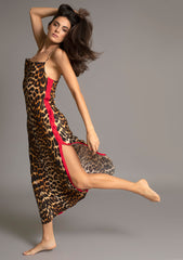 ELVIRA FULL LENGTH SLIPDRESS in LEOPARD w ROUGE TUXEDO STRIPE