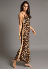 ELVIRA FULL LENGTH SLIPDRESS in LEOPARD w CAMEL TUXEDO STRIPE