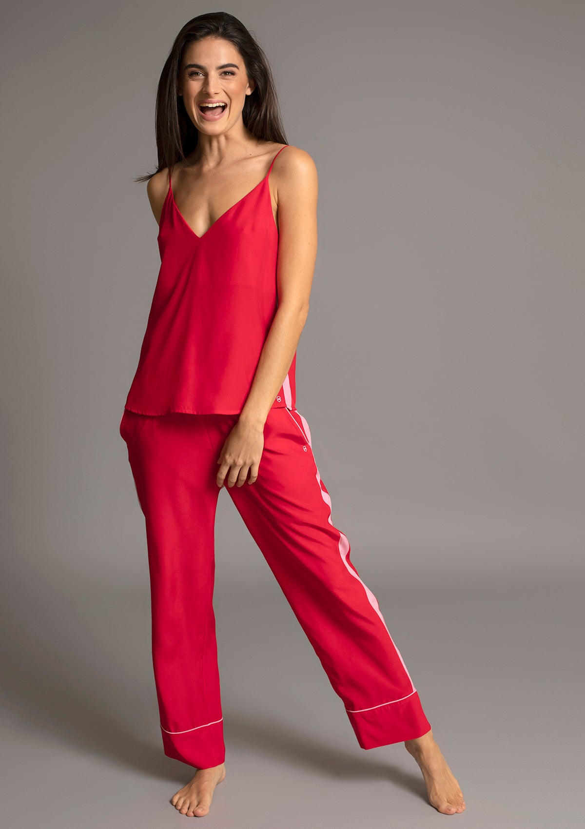 MARILYN V NECK CAMISOLE in ROUGE