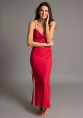 ELVIRA FULL LENGTH SLIPDRESS in ROUGE