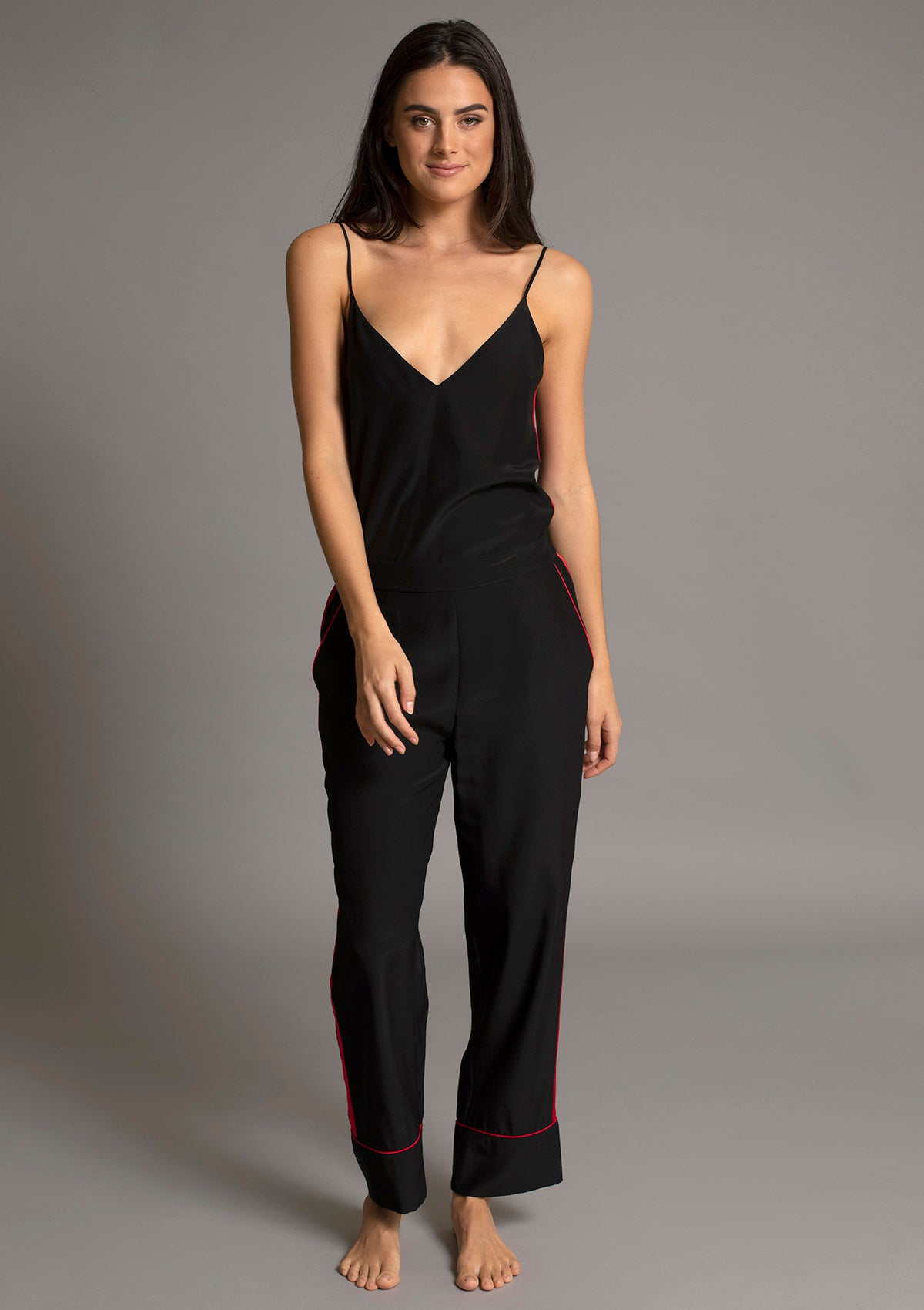 MARILYN V NECK CAMISOLE in NOIR w ROUGE TUXEDO STRIPE