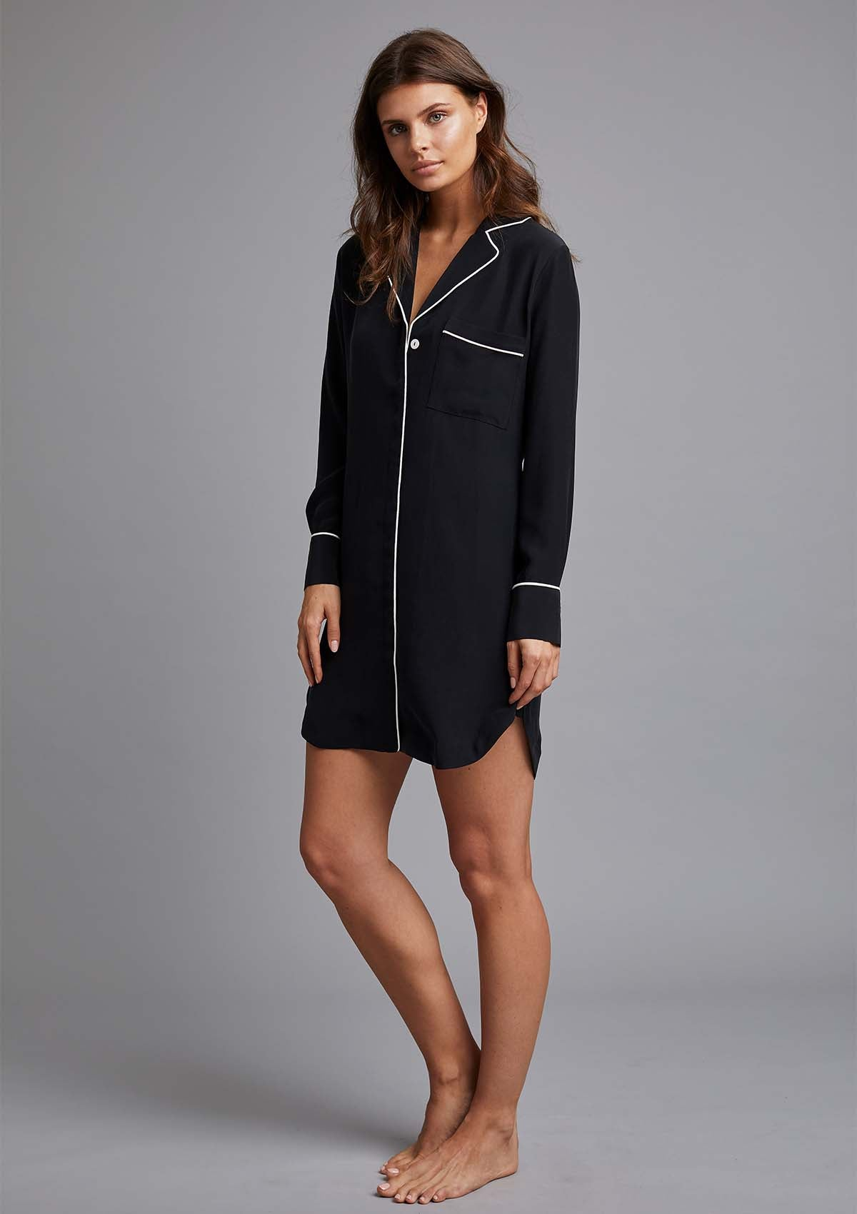 AVA NIGHTSHIRT in NERO