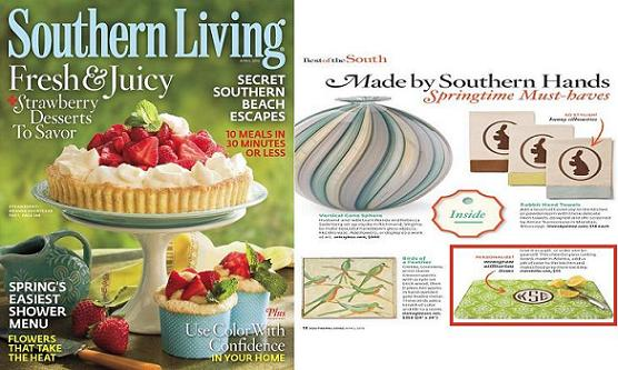 April 2010 Southern Living Showcases our Monogrammed Glass Cutting Boards