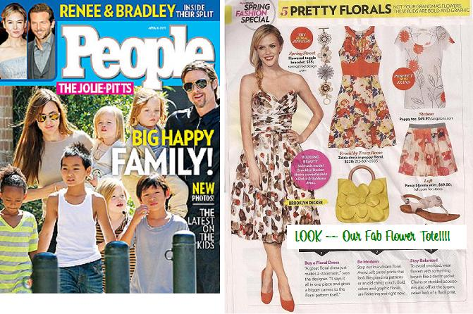 People April 4,2011 Features our Fabulous Flower Tote in Sunflower