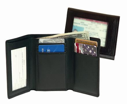 Monogrammed Leather Men's Tri-Fold with Double ID Window