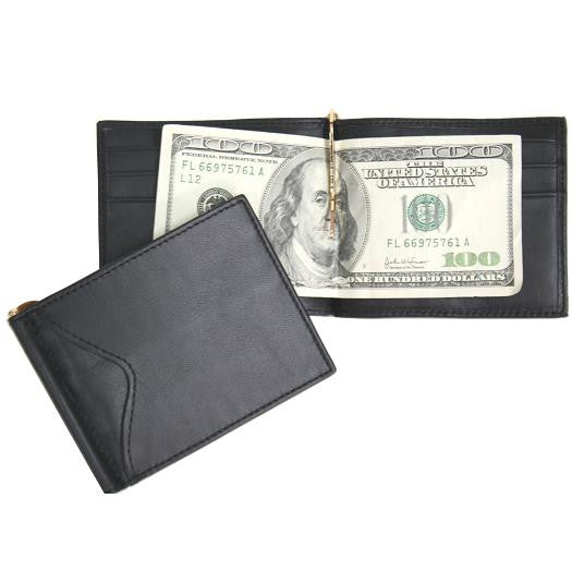 Monogrammed Men's Cash Clip Wallet With Outside Pocket