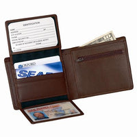 Monogrammed Leather Commuter Wallet