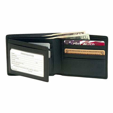 Monogrammed Men's Bi-Fold With Double Id Flap Wallet
