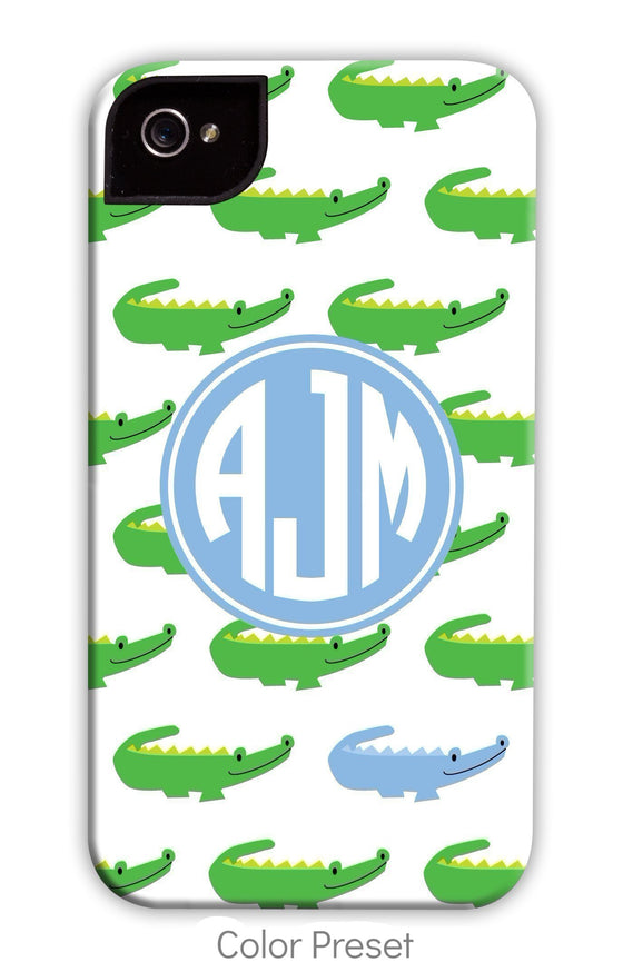 Alligator Repeat Blue Monogram Phone Case
