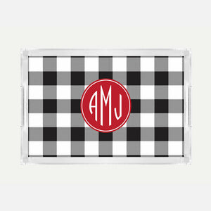 Monogrammed Buffalo Check Lucite Serving Tray