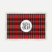Monogrammed Plaid Lucite Serving Tray