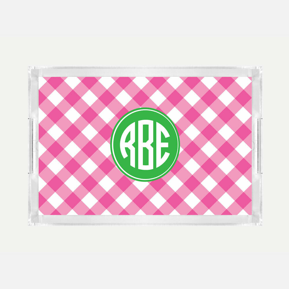 Monogrammed Pink Check Lucite Serving Tray