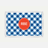 Monogrammed Blue Check Lucite Serving Tray