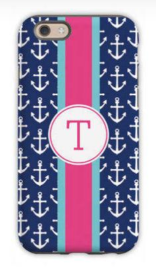 Anchor Ribbon in Navy Phone Case