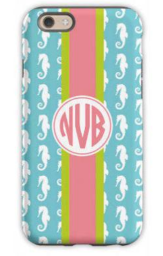 Seahorse Ribbon in Teal Phone Case