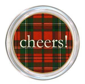 Monogrammed Red & Green Plaid Coaster