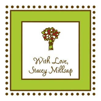 Antique Bead Border Green & Chocolate Gift Enclosure Card