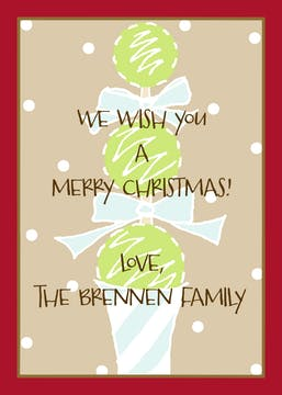 Christmas Topiary Gift Enclosure Card or Gift Sticker