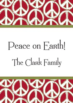Peace Signs Red & Green Gift Enclosure Card or Gift Sticker