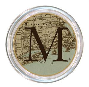 Monogrammed Antique Northeast Map Coaster