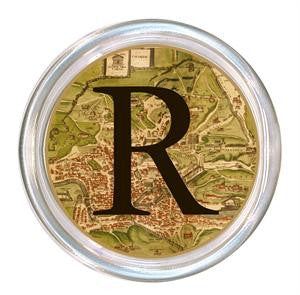 Monogrammed Antique Map of Rome Coaster