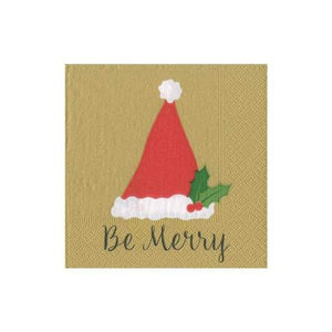 Be Merry Gold Cocktail Napkin