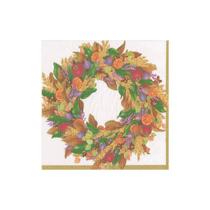 Autumn Wreath Ivory Cocktail Napkin