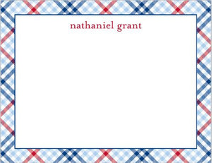 Check Blue and Red Flat Notecard