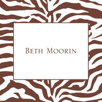 Zebra Brown Foldover Note