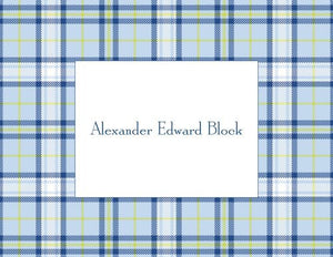 Plaid Blue Foldover Note
