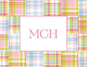Madras Patch Pink Foldover Note
